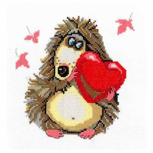 0093 Набор для вышивания Nitex 'Ёжик и сердечко', 16х16 см