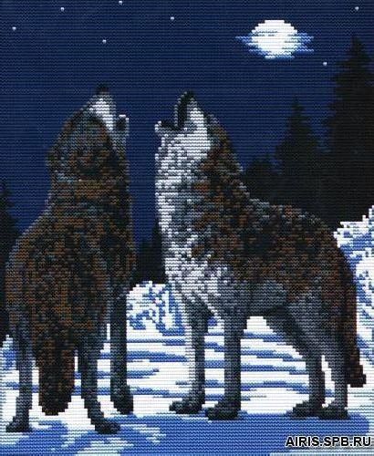 108 Набор для вышивания Lutars 'Волки под луной'