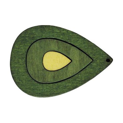 Декоративная деревянная подвеска капля, 50*36 мм, 'Астра'