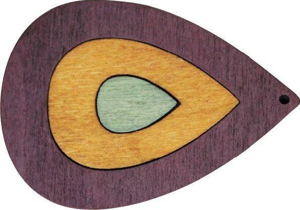 Декоративная деревянная подвеска капля, 50*36 мм, 'Астра' (2162-03)