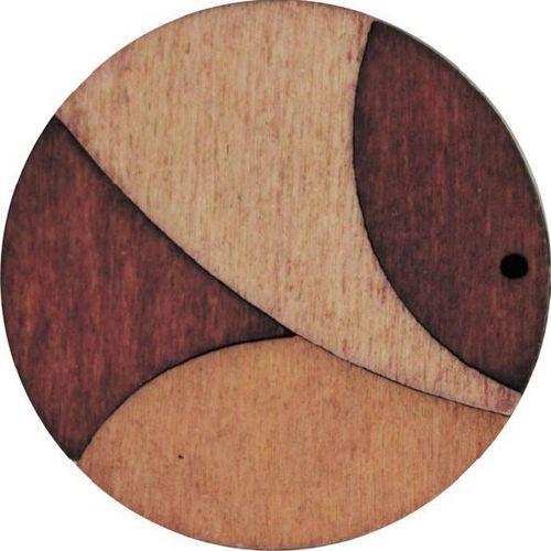 Декоративная деревянная подвеска круг, 37 мм, 'Астра'