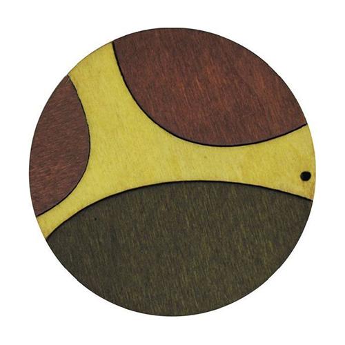 Декоративная деревянная подвеска круг, 59 мм, 'Астра'
