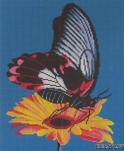 3007 Бабочка на цветке 23х18 см