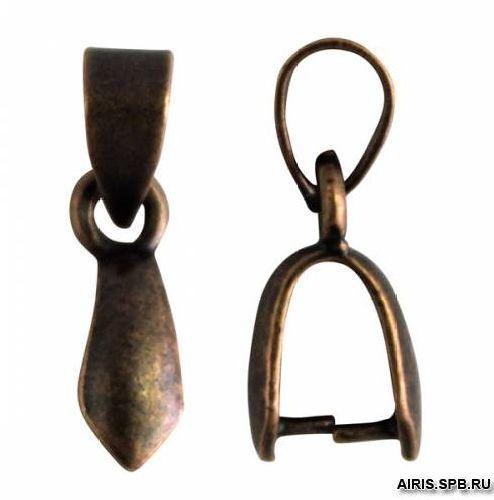 HA00070 Держатель для кулона, 13*6,5 мм, упак./10 шт., 'Астра' (медь состаренная)