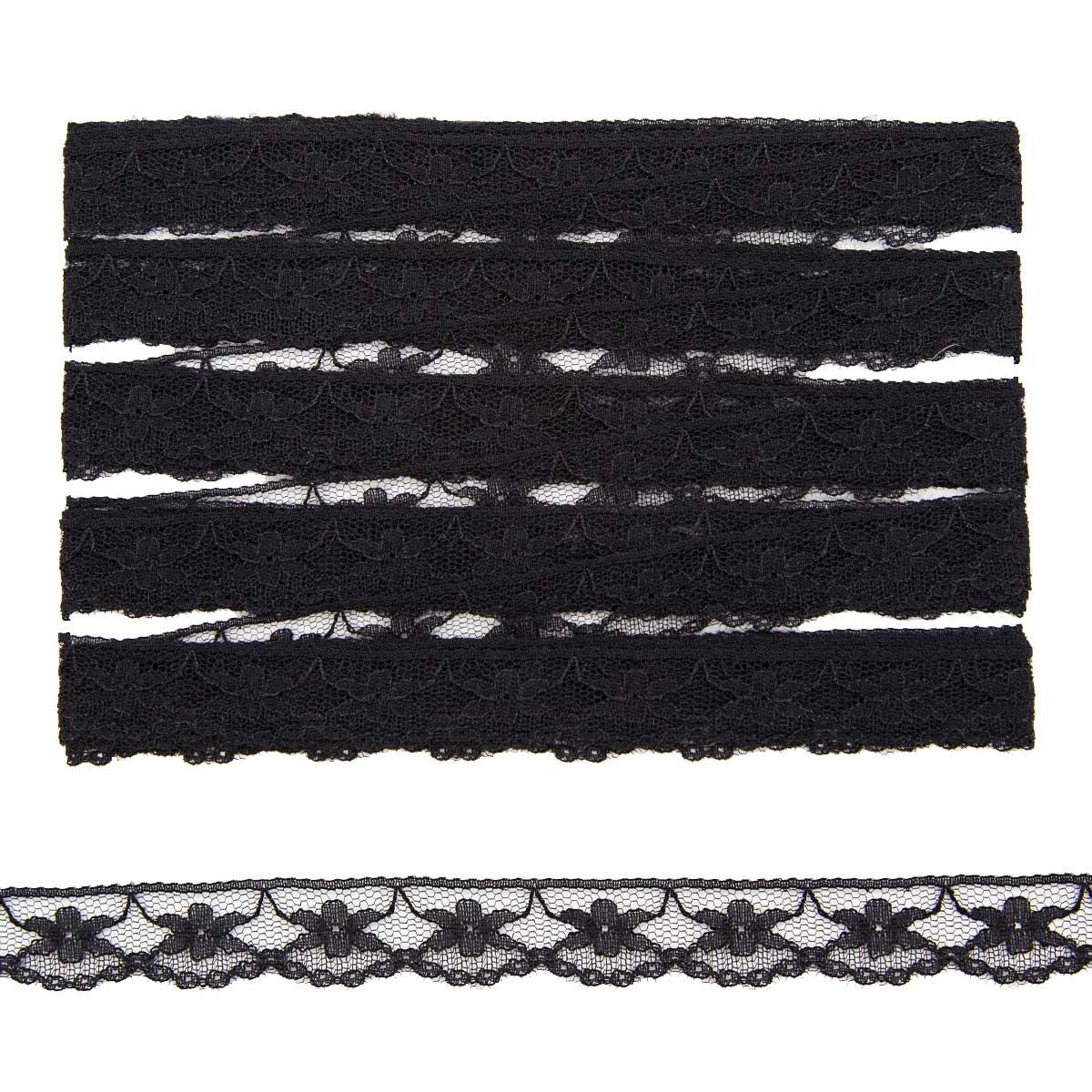 Кружево 2,0см сетка 0623-1295 *13,71м (черный) фото