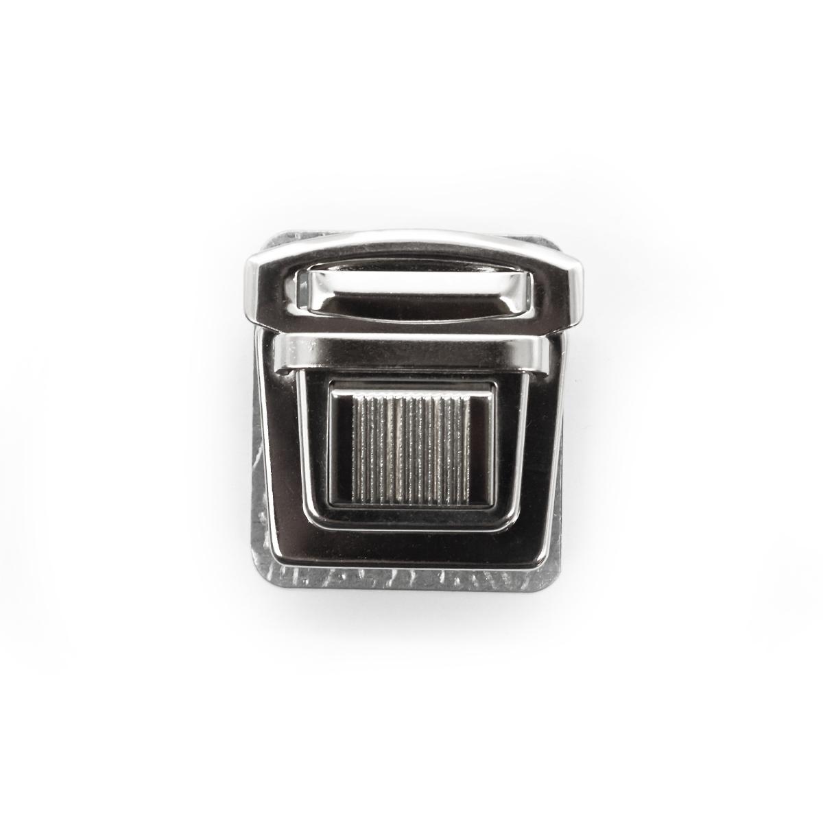 818-024 Замок портфельный, никель, 35*30 мм
