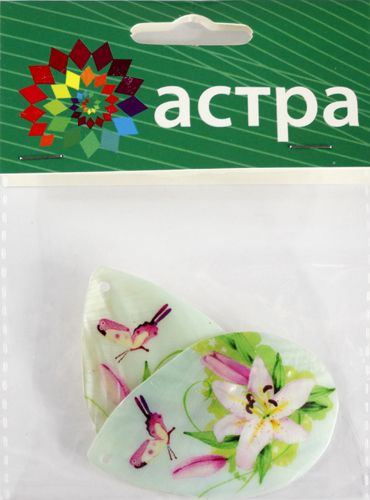 Декоративная подвеска 'Капля', 52*35 мм, упак./2 шт., 'Астра'