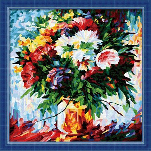 F009 Набор для раскрашивания по номерам 'Букет цветов', 40х40см