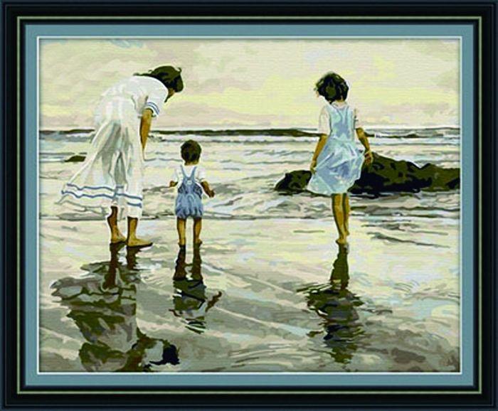 G016 Набор для раскрашивания по номерам 'Семья на море', 40х50см