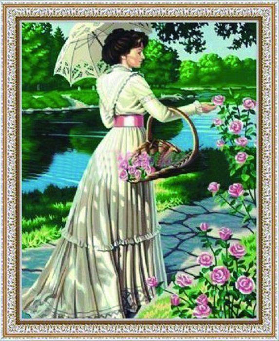 G017 Набор для раскрашивания по номерам 'Дама с цветами', 40х50см