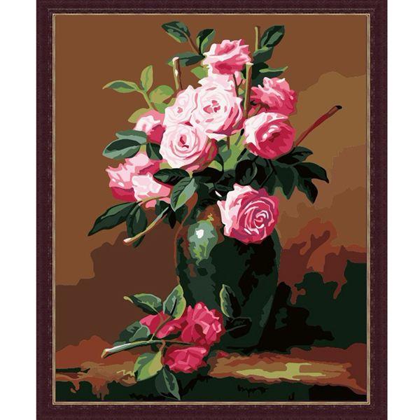 G265 Набор для раскрашивания по номерам 'Букет розовых роз', 40х50см