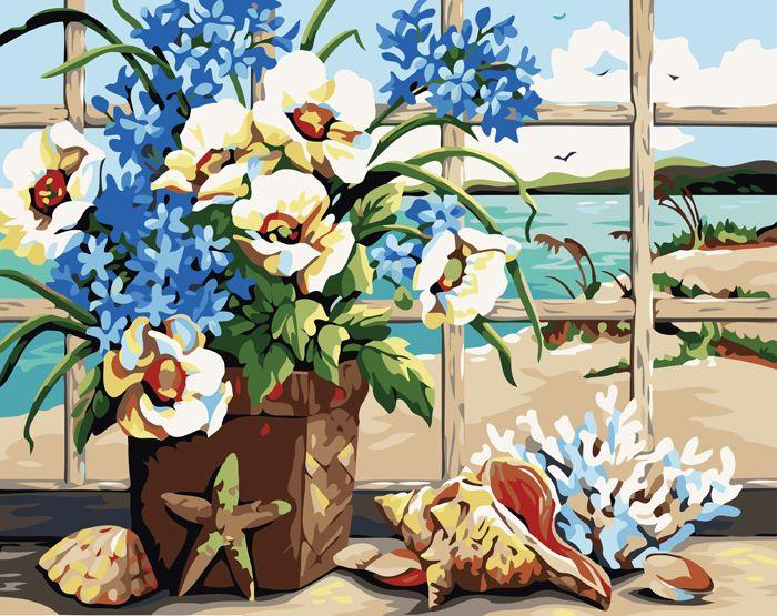 G167 Набор для раскрашивания по номерам 'Цветы и морские раковины', 40х50см