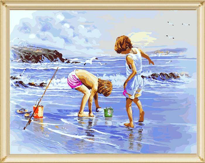 G273 Набор для раскрашивания по номерам 'Дети на море', 40х50см