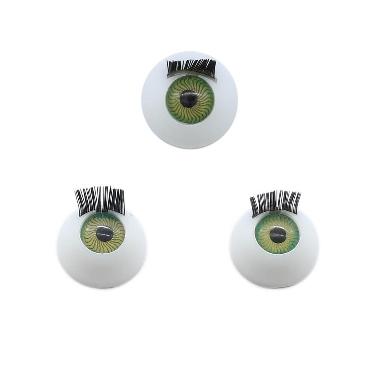 Глаза с ресничками круглые 14мм (зеленый) фото