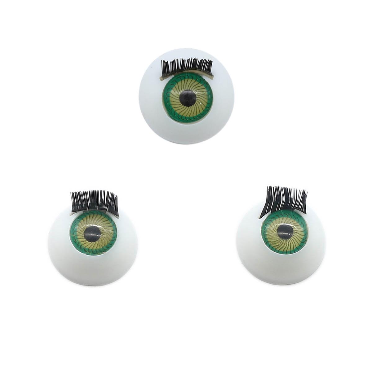 Глаза с ресничками круглые 16мм