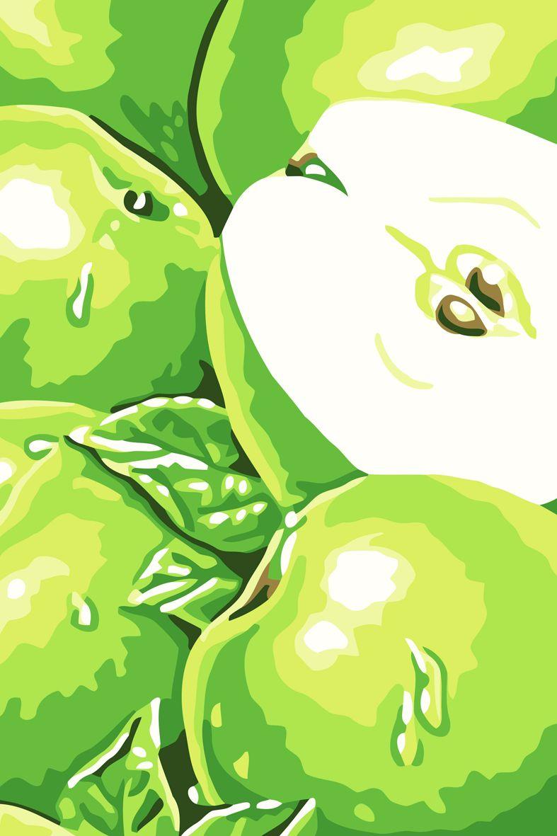 C066 Набор для раскрашивания по номерам 'Зеленые яблоки', 20х30см