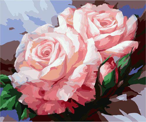 G301 Набор для раскрашивания по номерам 'Розовые розы', 40х50см