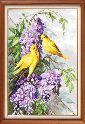 X-1150 Набор для вышивания 'Гобелен Классик' 'Птицы и пурпурные цветы', 23,5х36 см