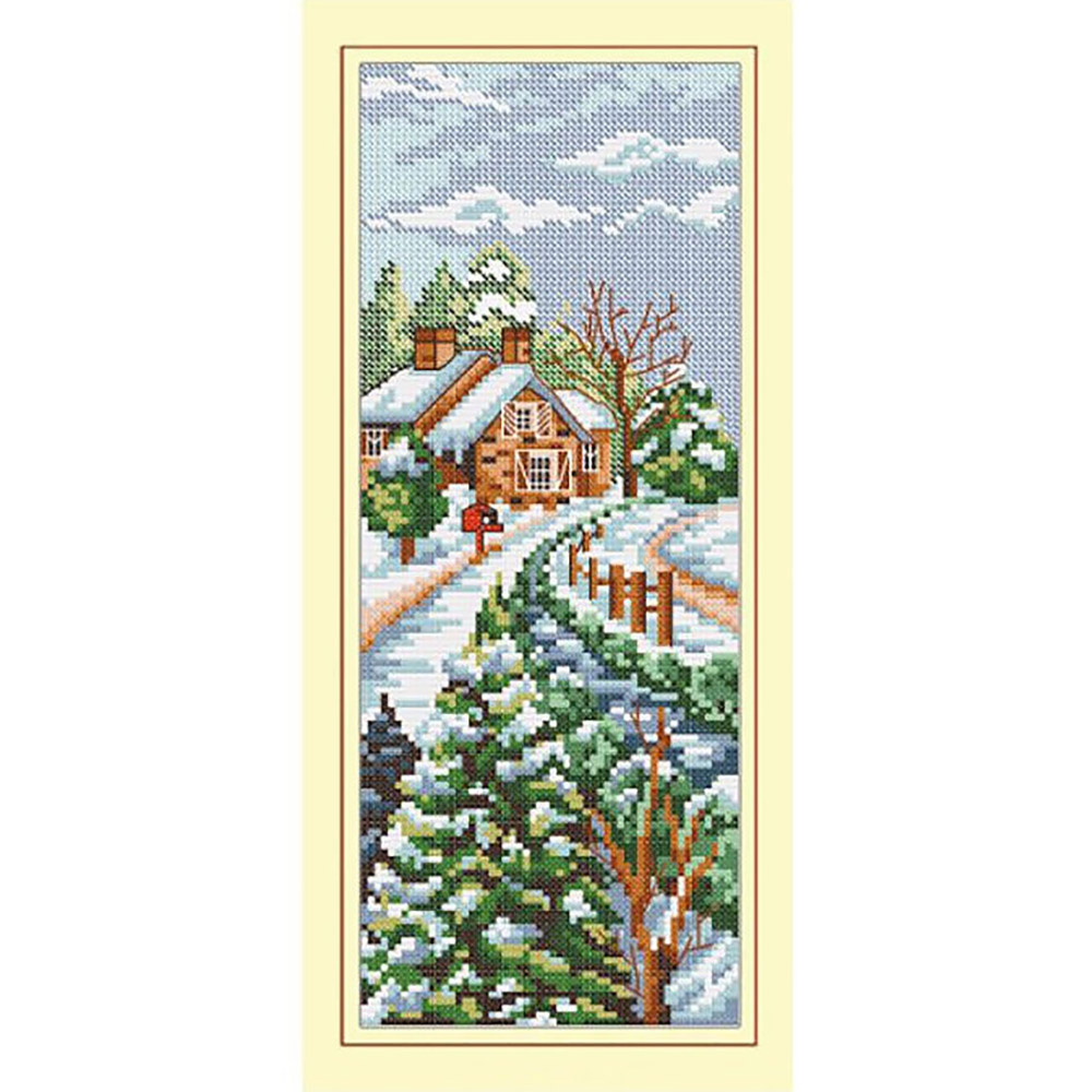 S-007 Набор для вышивания Hobby&Pro 'Зимний домик', 10*26 см фото