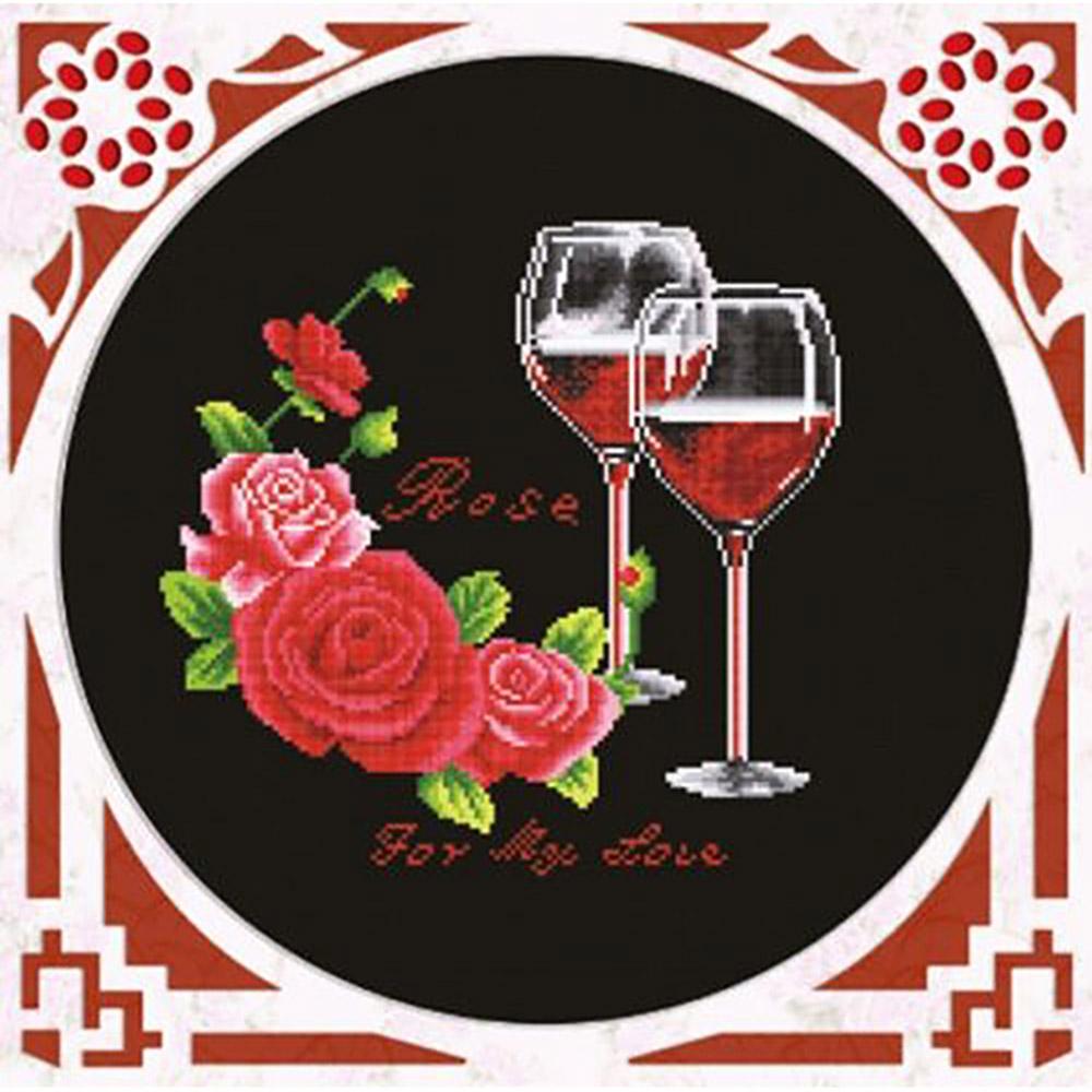 S-026 Набор для вышивания Hobby&Pro 'Розовое вино', 27*27 см