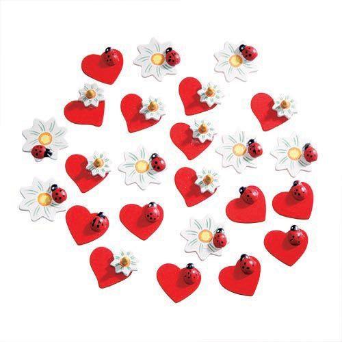 68605222 Декоративные элементы (дерево), сердце/цветок/божья коровка, 30 мм, упак./24 шт., Glorex