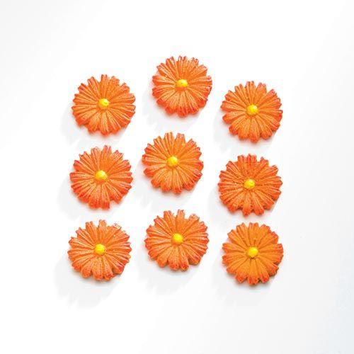 63805401 Декоративный элемент 'Цветы', (полирезин), оранжевый, 1,7х1,7 см, упак./9 шт., Glorex