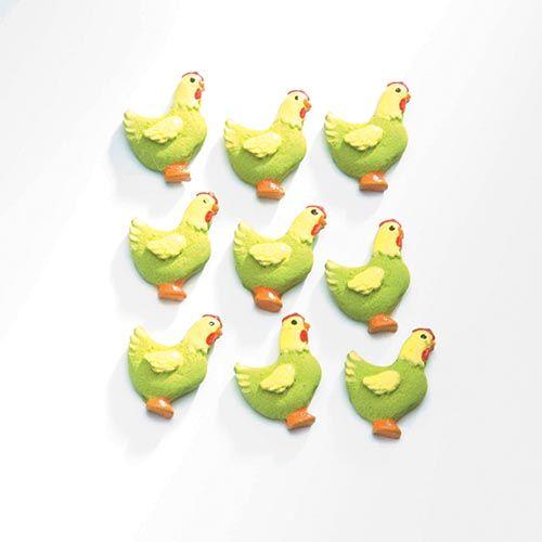 63805442 Декоративный элемент 'Курицы', (полирезин), зеленый, 2*1,5 см, упак./9 шт., Glorex