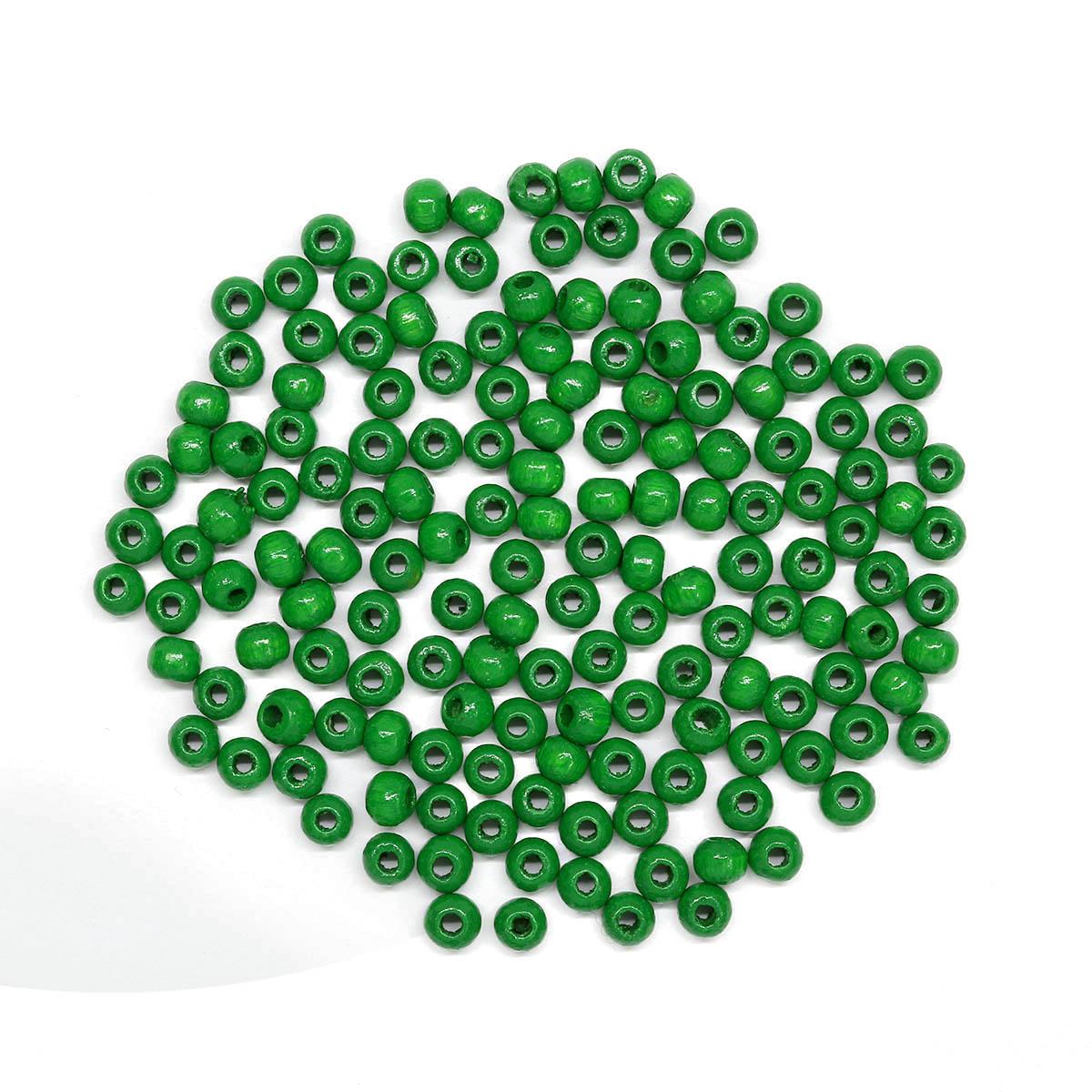 61651007 Бусины деревянные, зеленый, 4 мм, упак./155 шт., Glorex