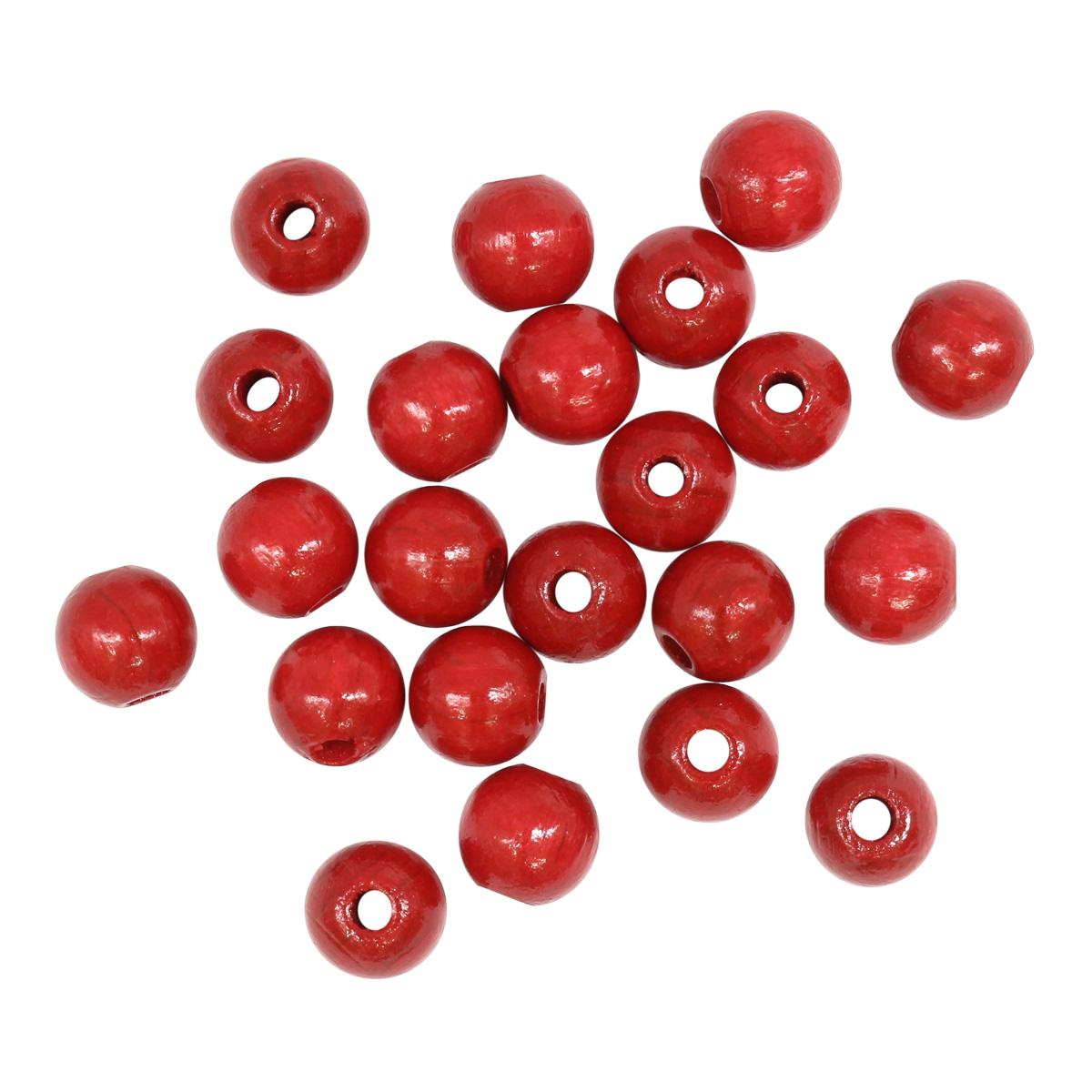 61653005 Бусины деревянные, красный, 8 мм, упак./80 шт., Glorex