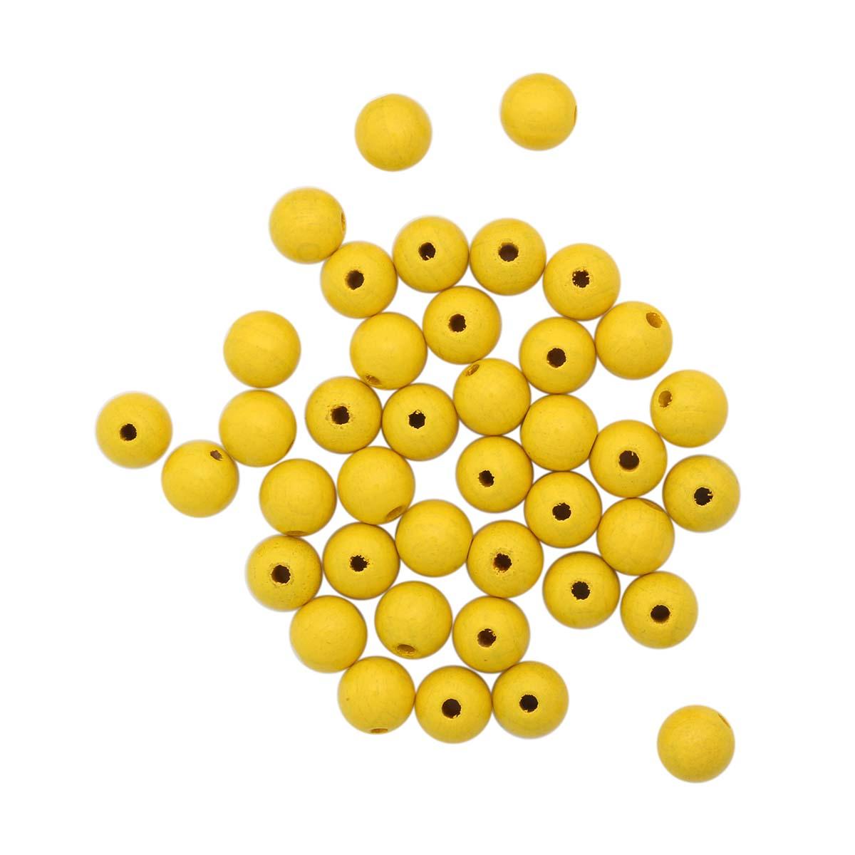 61654003 Бусины деревянные, желтый, 10 мм, упак./47 шт., Glorex