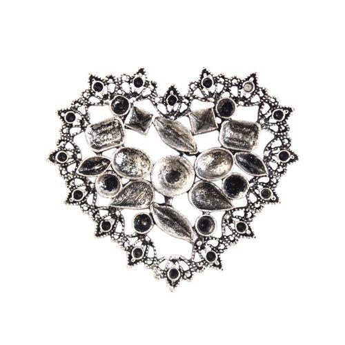 H2173 Декоративный элемент 'Сердце', 53*44 мм, 'Астра'