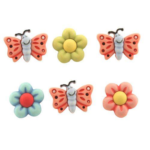 BZ107, Пуговицы. Бабочки и цветы