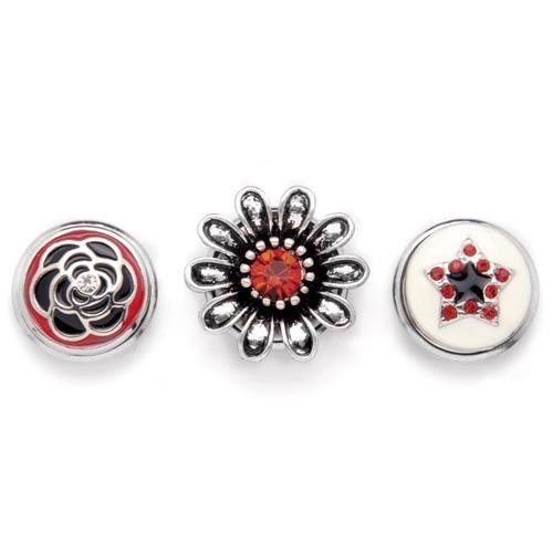 61632111 Декоративные кнопки для украшения, 19 мм, 3шт, красный/серебряный цвет Glorex