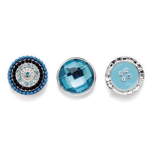61632112 Декоративные кнопки для украшения, 19 мм, 3шт, бирюзовый/серебряный цвет Glorex