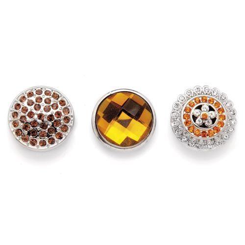61632113 Декоративные кнопки для украшения, 19 мм, 3шт, янтарь/серебряный цвет Glorex