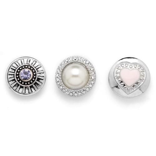 61632116 Декоративные кнопки для украшения, 19 мм, 3шт, розовый/серебряный цвет Glorex