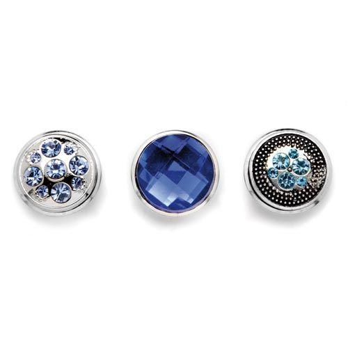 61632117 Декоративные кнопки для украшения, 19 мм, 3шт, синий/серебряный цвет Glorex