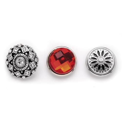 61632119 Декоративные кнопки для украшения, 19 мм, 3шт, рубин/серебряный цвет Glorex
