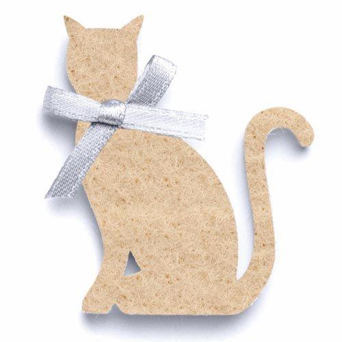 67101461 Кошки из фетра, 6 шт, 5 x 3,7 x 0,3 см, цвет: бежевый, Glorex
