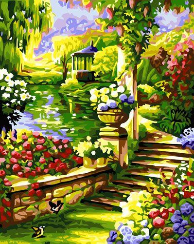 GX6114 Набор для раскрашивания по номерам 'Лестница в саду', 40*50см