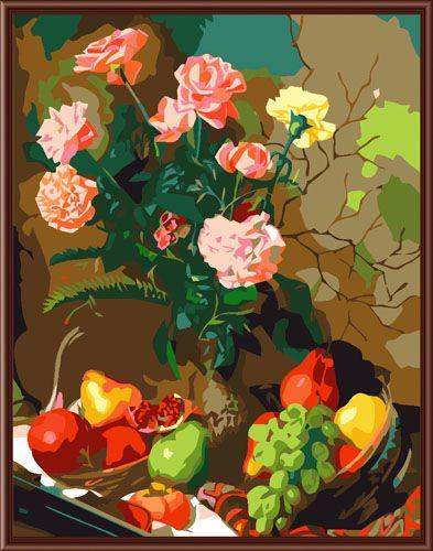 GX6256 Набор для раскрашивания по номерам 'Цветы и фрукты', 40*50см