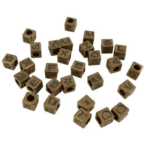 FIN2358 Бусины с буквами 6,8*6,8*6,8 мм, упак./30 шт., 'Астра'