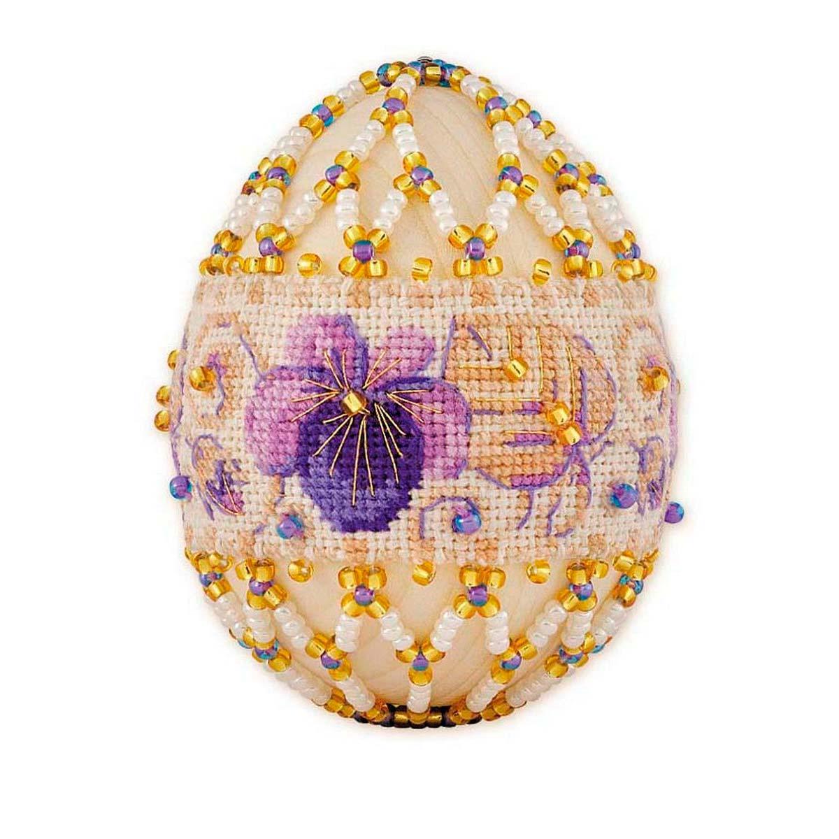 Б185 Набор для бисероплетения Riolis яйцо пасхальное 'Фиалки', 6*4,5 см