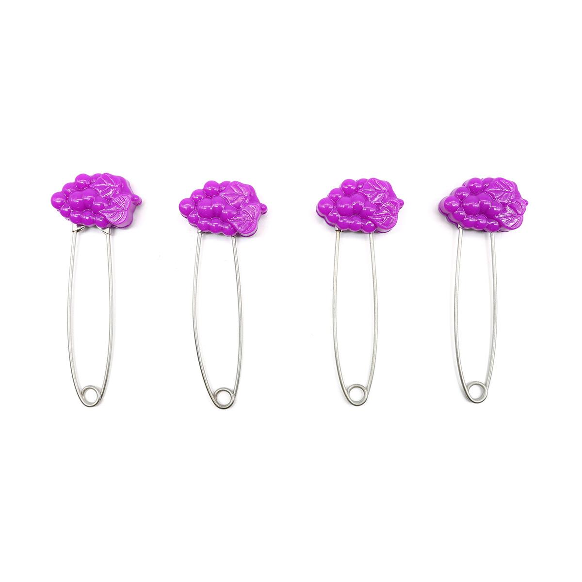220151 Булавки английские с декоративной пластиковой головкой 'Виноград', 4 шт.