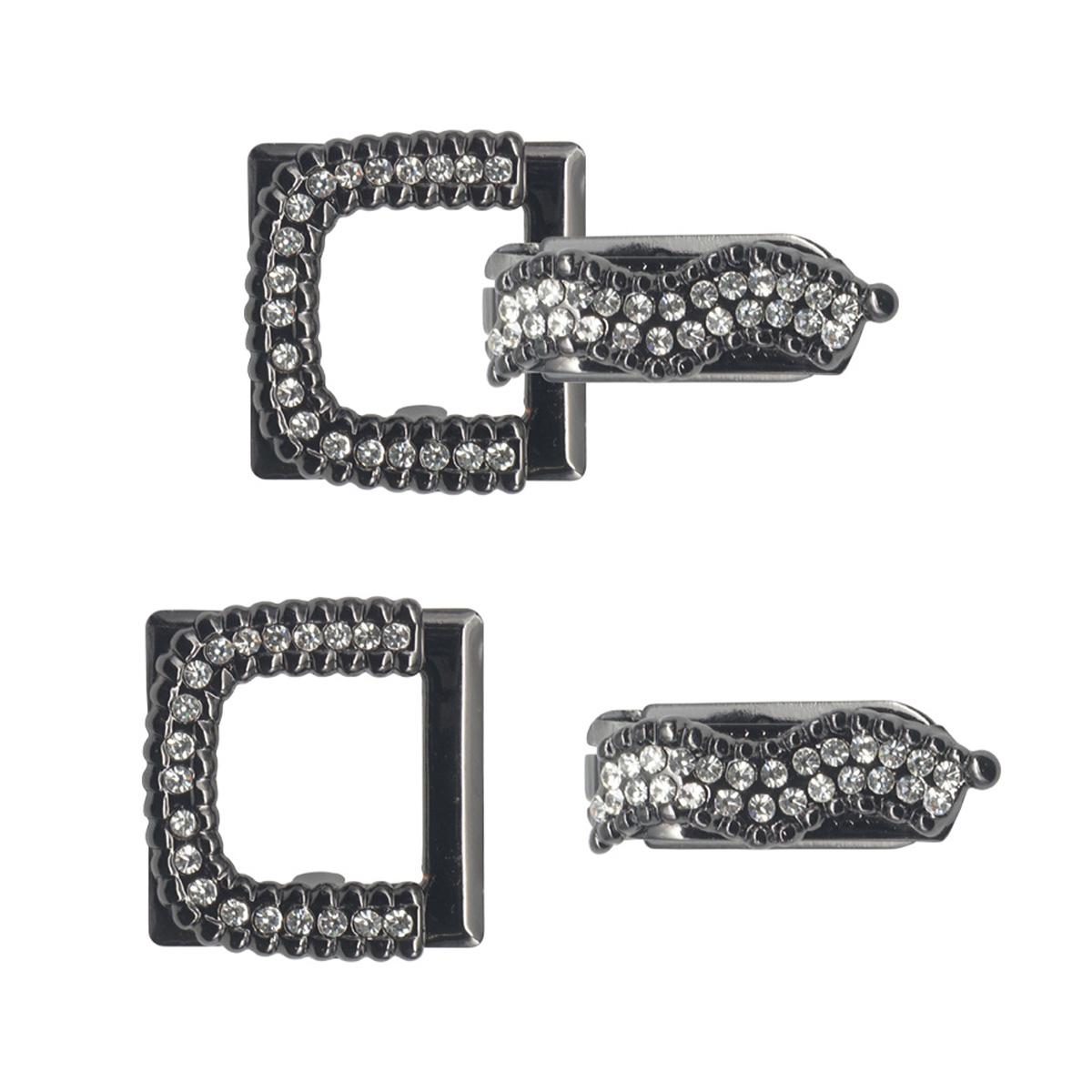 AB5275 Крючок шубный со стразами, Cristal (черный никель)