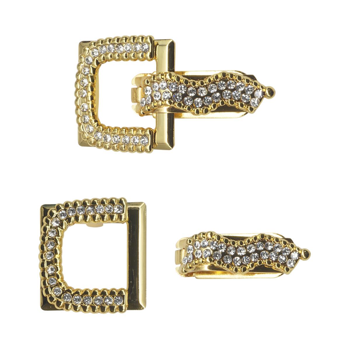 AB5275 Крючок шубный со стразами, Cristal (золото)