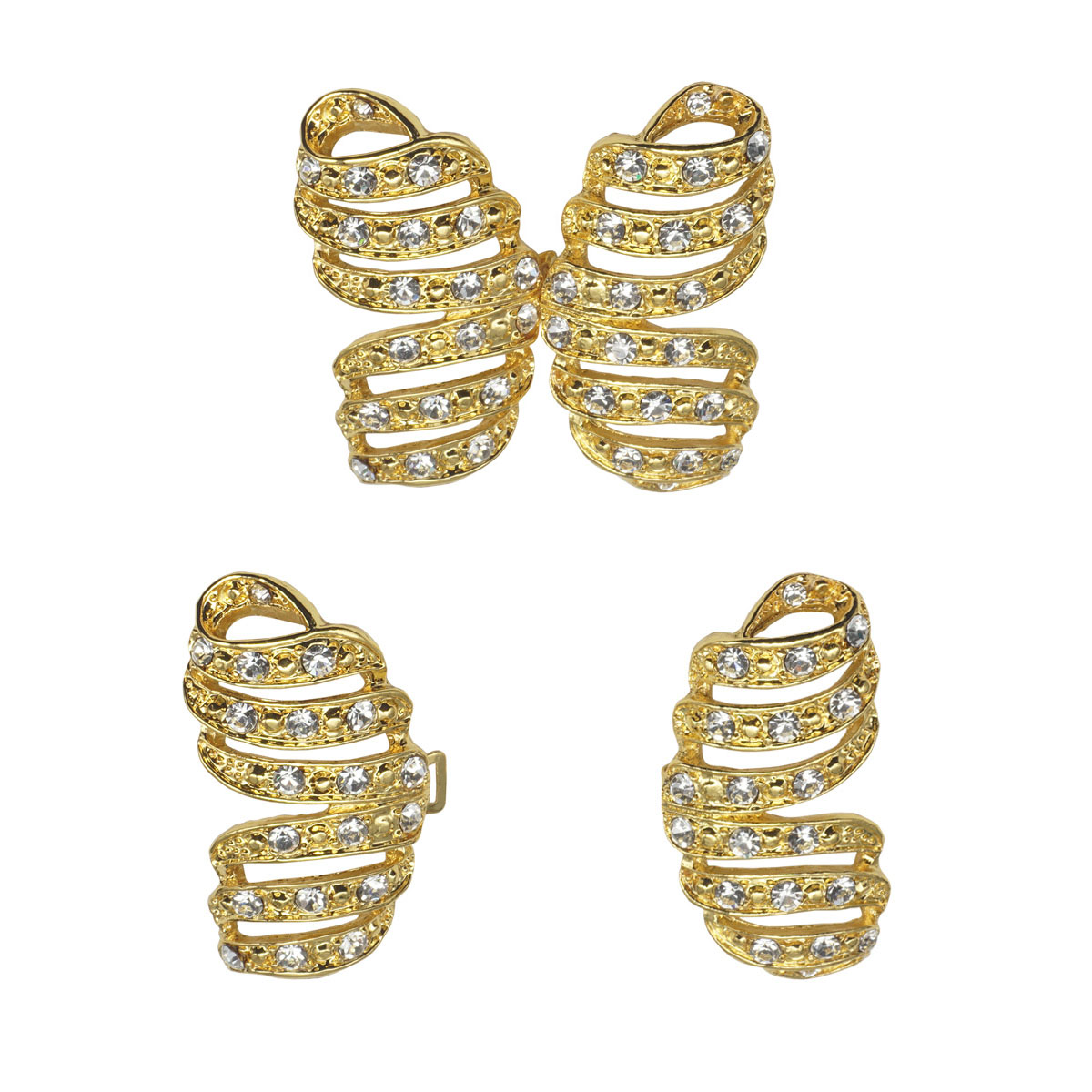 AB4078 Крючок шубный со стразами, Cristal (золото)