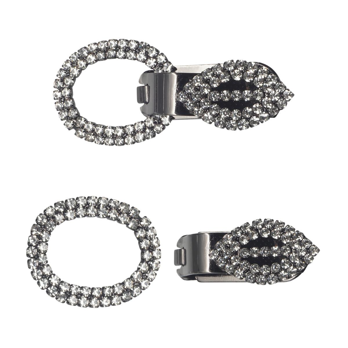 AB3961 Крючок шубный со стразами, Cristal (черный никель)