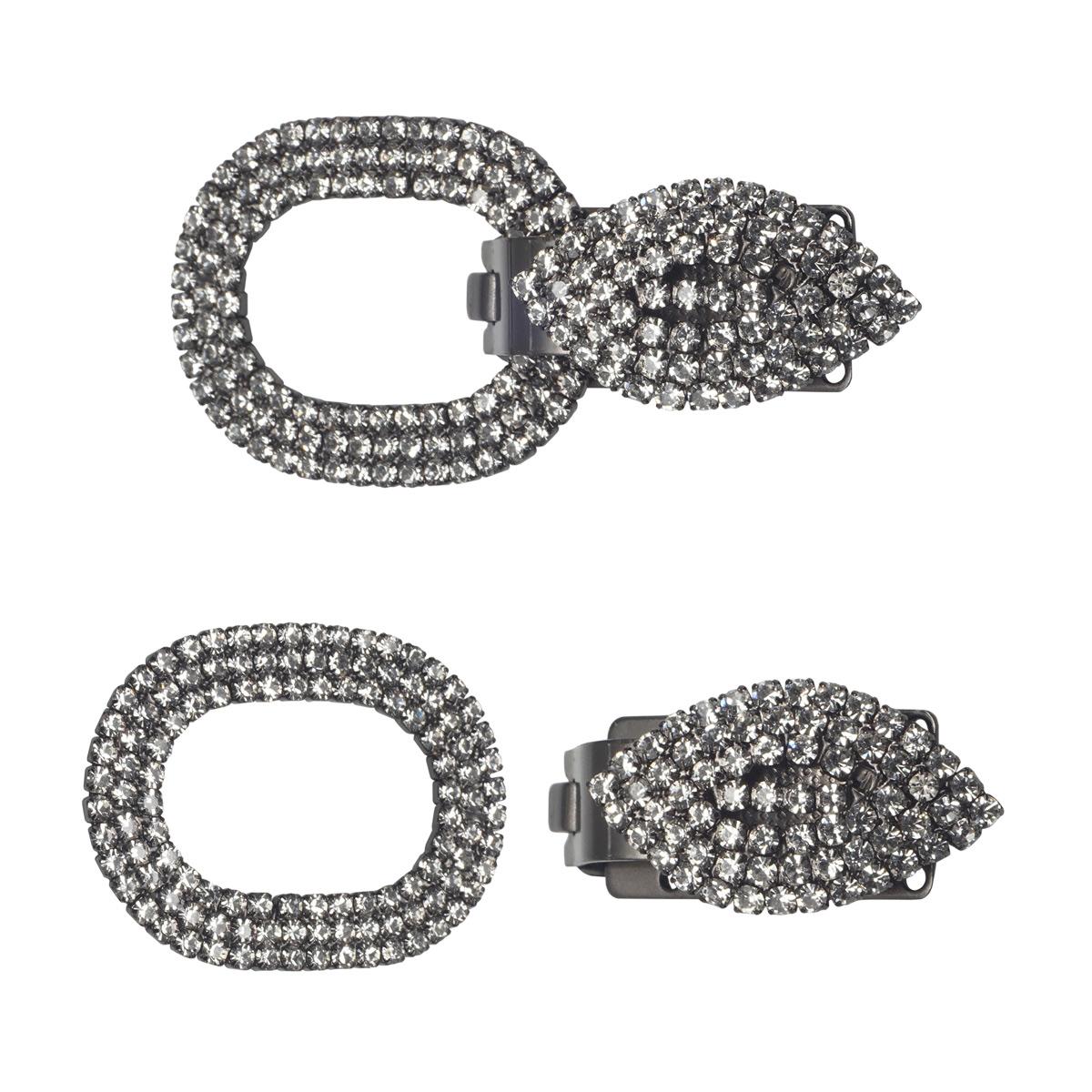 AB3931 Крючок шубный со стразами, Cristal (черный никель)