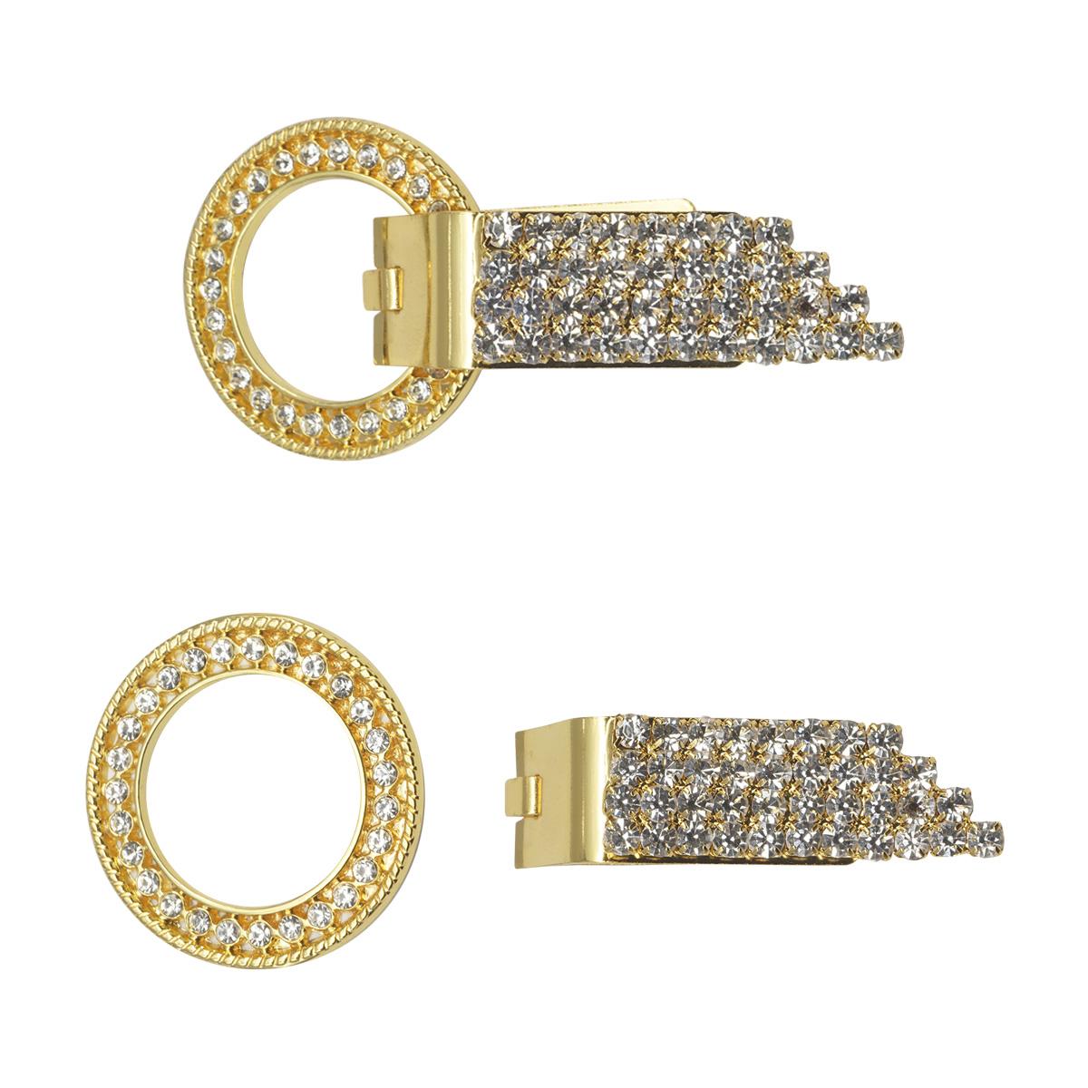 AB5278 Крючок шубный со стразами, Cristal (золото)